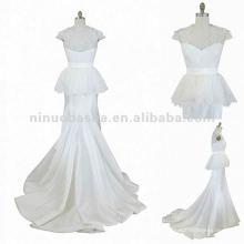 NY-1556 Casaco cintura de renda com mangas de boné vestido de noiva