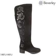 высокий каблук черные замшевые кожаные сапоги
