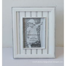 White Wooden Photo Frame with Silver Line