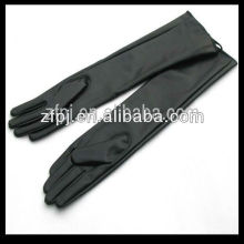 elbow length long lines top goat leather fashion leather gloves black