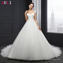ML-0030 Vestido De Noiva Mariage Robe de mariée Custom Made Sequins Robe en dentelle à manches molle Robes de mariée Robes princesse en dentelle 2016