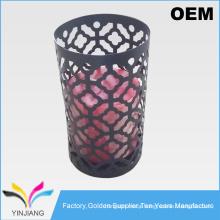 Punching design crystal metal floor candle holder for wedding