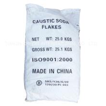 Copos de soda cáustica en una bolsa de 25kg