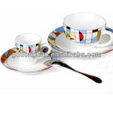high grade custom design white coffee mug ceramic with spoon
