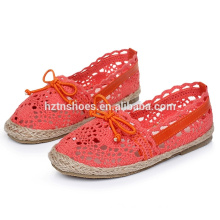 Knitted kids casual shoes with bow girls espadrille shoes
