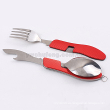 Cuchillo plegable y tenedor y cuchara cubiertos set Herramientas de cuchillería multifunción camping al aire libre Tabble picnic plegable de acero inoxidable
