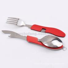 Dobrável faca e garfo e colher conjunto de talheres De acampamento ao ar livre multifuncionais ferramentas talheres Portátil Splittable aço Inoxidável piquenique tabl