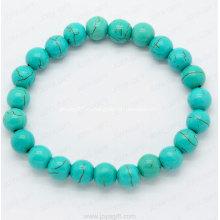 8MM Бирюзовый браслет круглых бусин блестящие модные браслеты