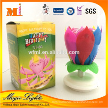 Colorful Petals Lotus Flower Rotating Music Birthday Candle