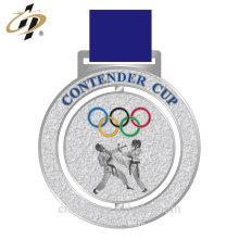 Nuevas medallas de trofeo 3D de fundición de metal de diseño personalizado de plata del karate