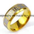 Stainless Steel Gold Diamond-Studded Men and Women′s Jewelry Ring (CZR2572)