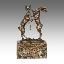 Animal Statue Rabbits Decoration Bronce Escultura Tpal-323