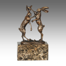 Animal Statue Lapins Décoration Bronze Sculpture Tpal-323