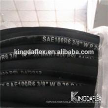 Mangueira de borracha hidráulica reforçada fibra resistente ao óleo de 8mm SAE 100 R6