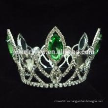 El pavo real corona las tiaras, corona cristalina verde del desfile del rhinestone para la venta