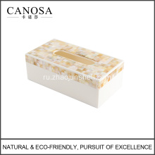 Golden Seashell Resin Tissue Box Cover for Hotels