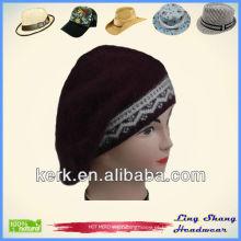 Elegante inverno coelho cabelo e chapéu de lã beanie hat, LSA35