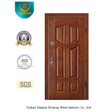Puerta de seguridad estilo chino para entrada con color marrón (E-1008)