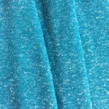 Blue melange knot effect polyester linen knitting fabric
