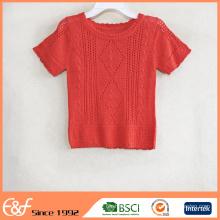 Crew Neck Red Padrão de camisola de verão Crochet grátis para mulheres