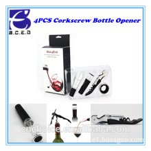Hot sell red wine accessory corkscrew automatic stainless steel plastic wine bottle opener gift set with small accessory parts