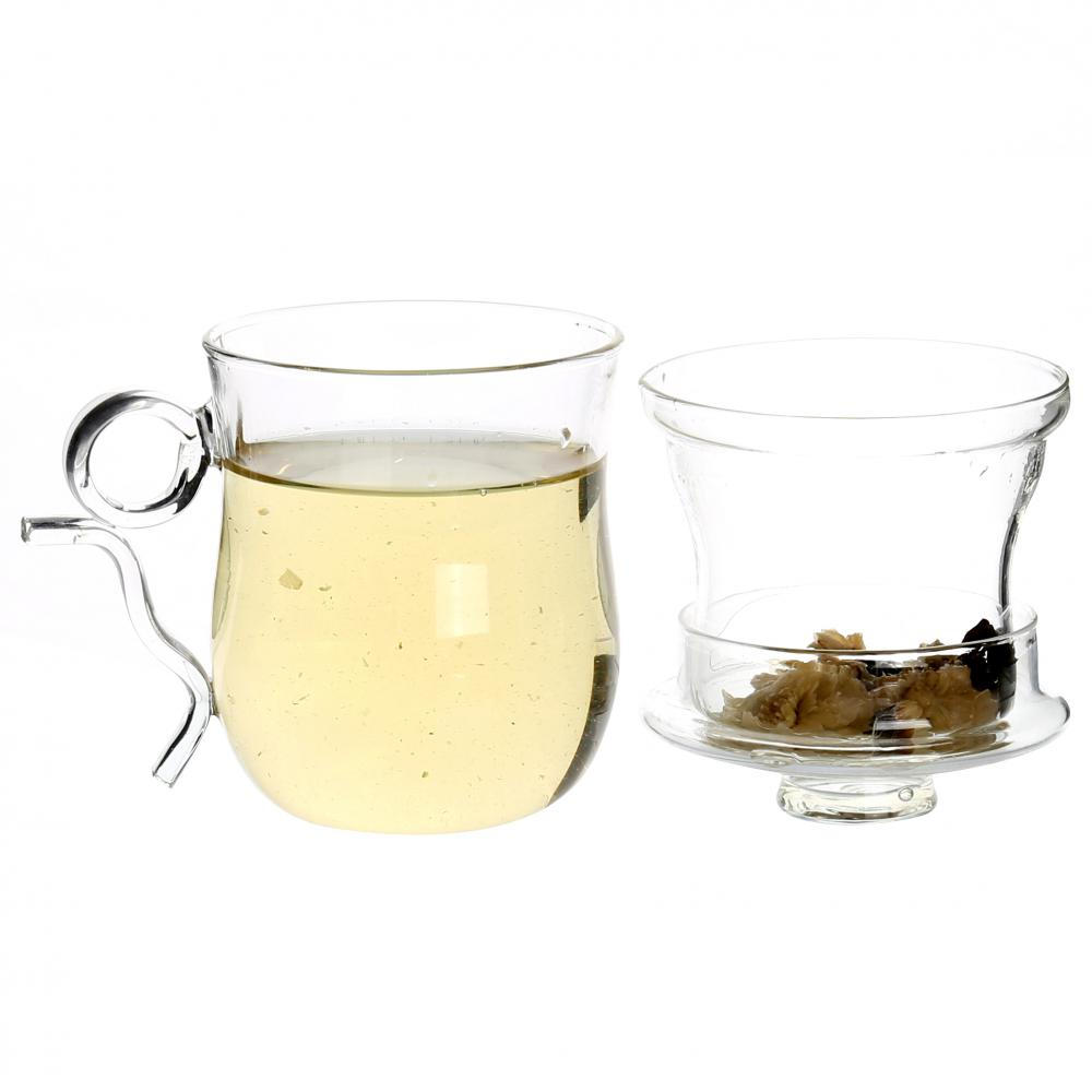 Clear Drinking Glass Tea Cup With Infuser And Handle