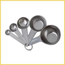 Conjunto de 5 colher de medição de aço inoxidável e copo