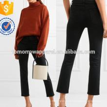 High-rise Cropped Jeans perna reta Fabricação Atacado Moda Feminina Vestuário (TA3059P)