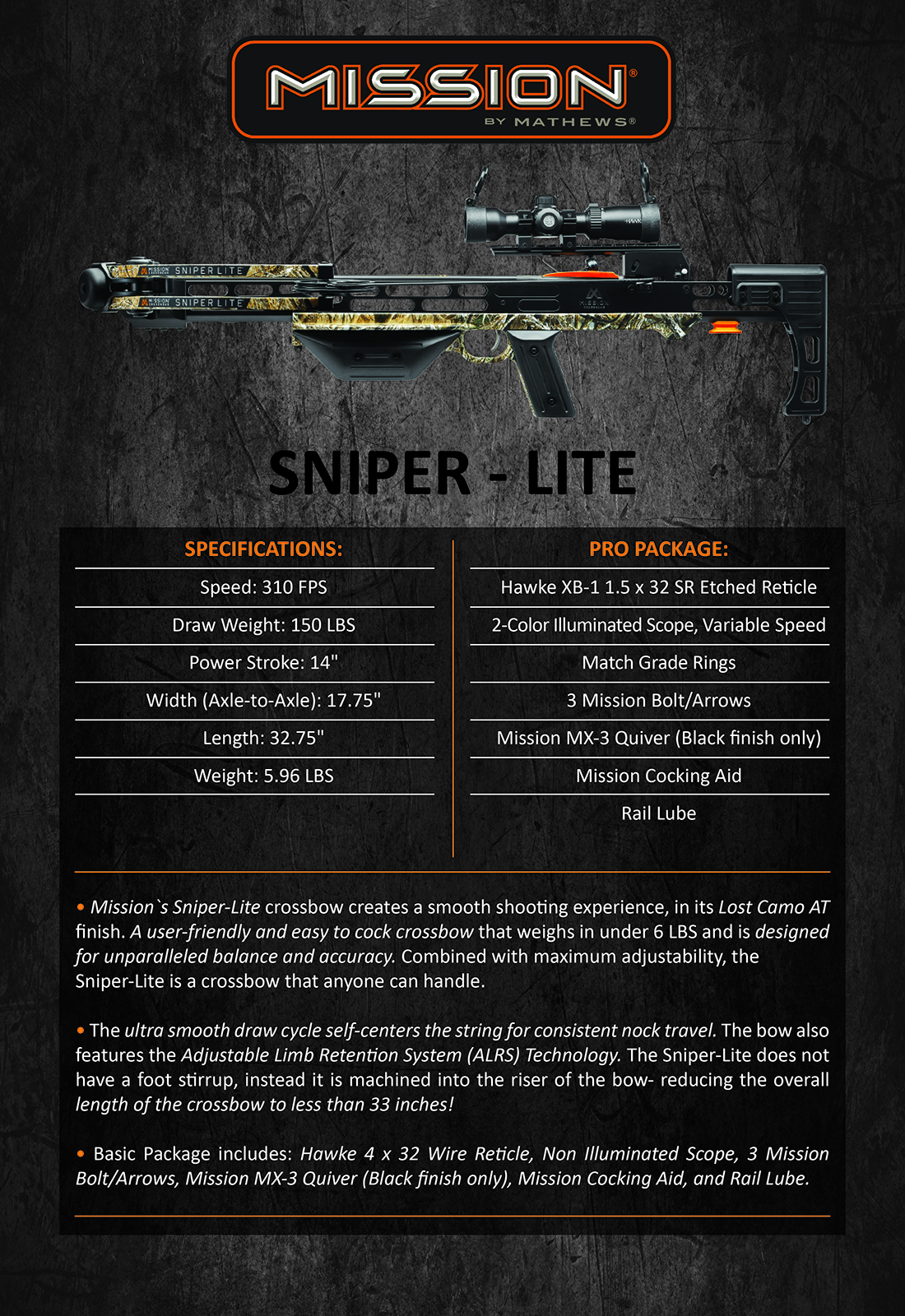 Mission Sniper Lite Product Description