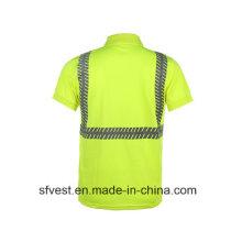 Hohe Sichtbarkeit 100% Polyester Birdeyes Sicherheit Reflektierende Polo T-Shirt