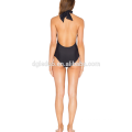Nylon con licra mezcla hermosa mujer negro bikinis monokini traje de baño