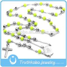 Collier Christ Collier Religieux Chapelet Croix Pendentif Vert Chapelet Perles Longue Chaîne Pour Femmes Hommes