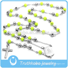 Christ Necklace Religious Rosary Necklace Cross Pendant Green Rosary Beads Long Chain For Women Mens