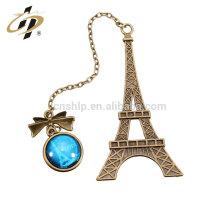 Marcador de encargo a granel barato al por mayor del metal de la torre Eiffel para los libros con su logotipo