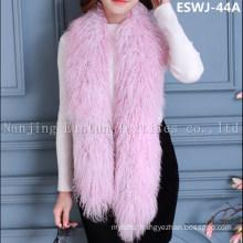 Long Pile Natural Mongolian Fur Scarf Eswj-44A