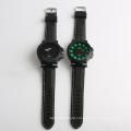 Big dial black leather watch japan movement fashion men watch