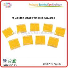 Montessori Material Spielzeug 9 Golden Bead Hundred Squares