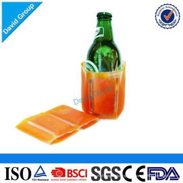 Paquete de refrigerador de botella de cerveza de hielo y paquete de frío desechable y enfriador de botella de cerveza de plástico