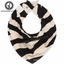Moda cebra de moda de algodón para bebés al por mayor baberos de bandana para bebés