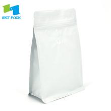 250g Matte weiße Kaffeetasche mit Ventil