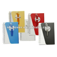 pvc cover spiral notebook with pen
