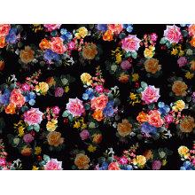 Flores negras impressas tecido de banho de nylon (asq093)