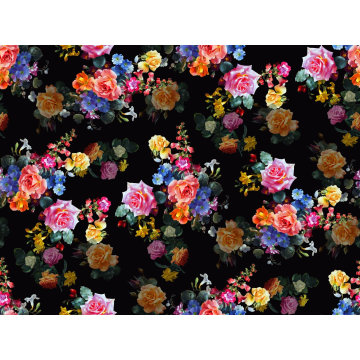 Schwarze Blumen gedruckt Nylon Bademode Stoff (asq093)