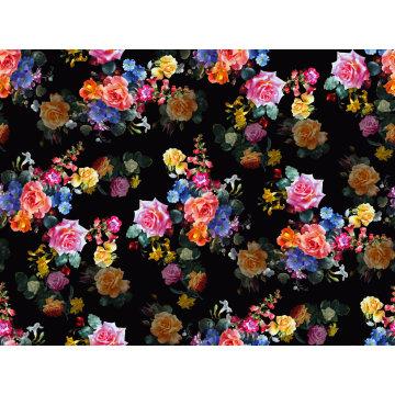 Black Flowers Printed Nylon Swimwear Fabric (ASQ093)