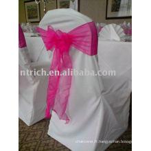 couverture de chaise de polyester 100 %, couverture de chaise de Banquet/hôtel, ceinture d'organza