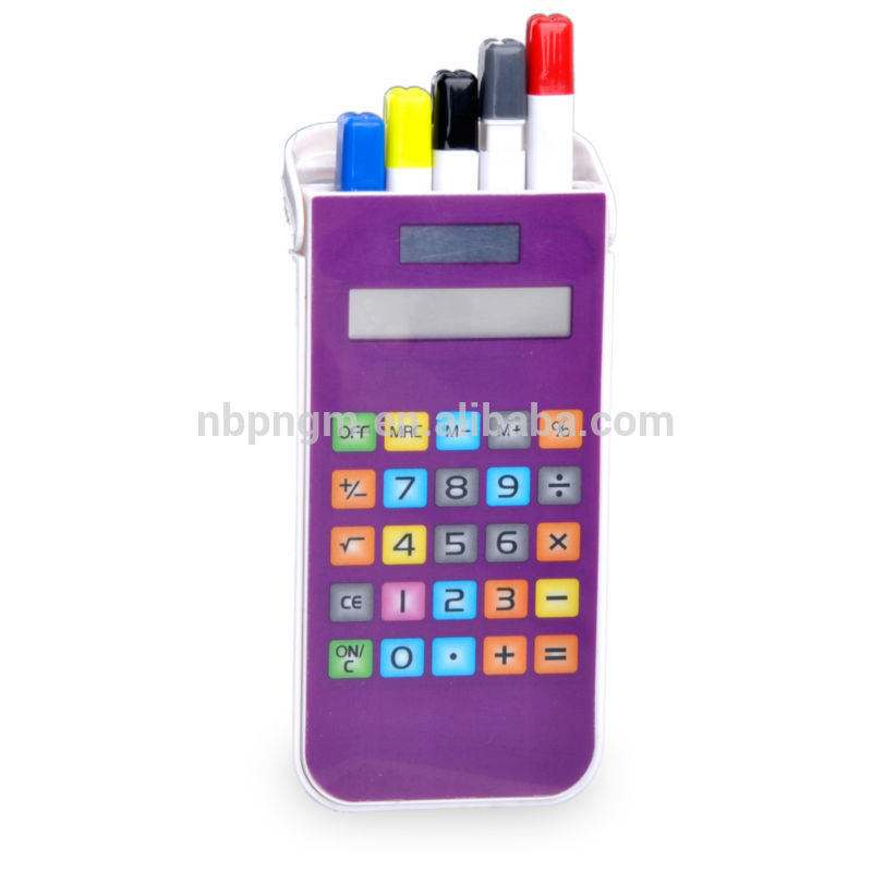 8 Digits Touch Screen Keys Calculator with Pen Holder