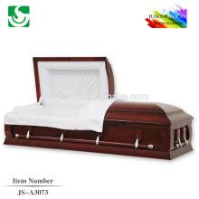 Personalizado estilo americano sólido de madeira vermelho cor do caixão
