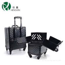 Double Open Trolley Cosmetic Case with Trays