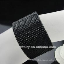 Großhandelsschwarzes Kristalllederarmband mit Edelstahl-Magnet-Wölbung