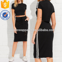 Ripped Tee And Pencil Skirt Set Manufacture Wholesale Fashion Women Apparel (TA4046SS)